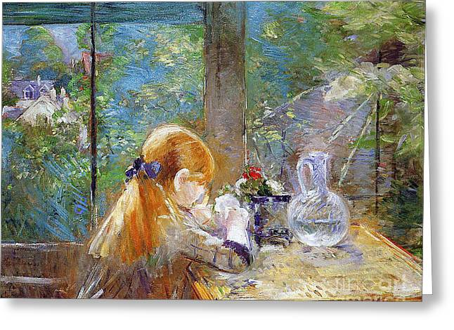 Best Sellers -  - Glass Vase Greeting Cards - Red-haired girl sitting on a veranda Greeting Card by Berthe Morisot