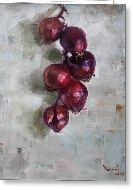 Onions Greeting Cards - Red Onions Greeting Card by Ylli Haruni