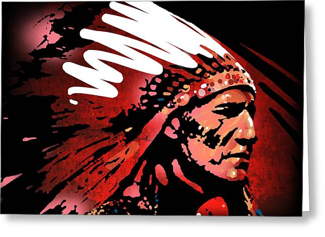 Indian Chief Greeting Cards - Red Pipe Greeting Card by Paul Sachtleben