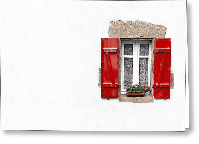 Shade Photographs Greeting Cards - Red shuttered window on white Greeting Card by Jane Rix