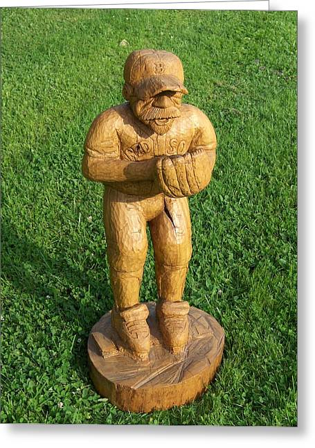 Chainsaw Carving Sculptures Greeting Cards - Red Sox Ball Player Greeting Card by Deverne Rushton