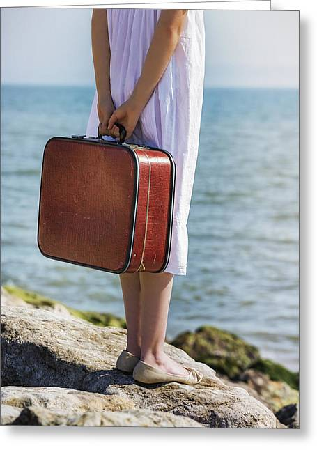 Female Body Greeting Cards - Red Suitcase Greeting Card by Joana Kruse