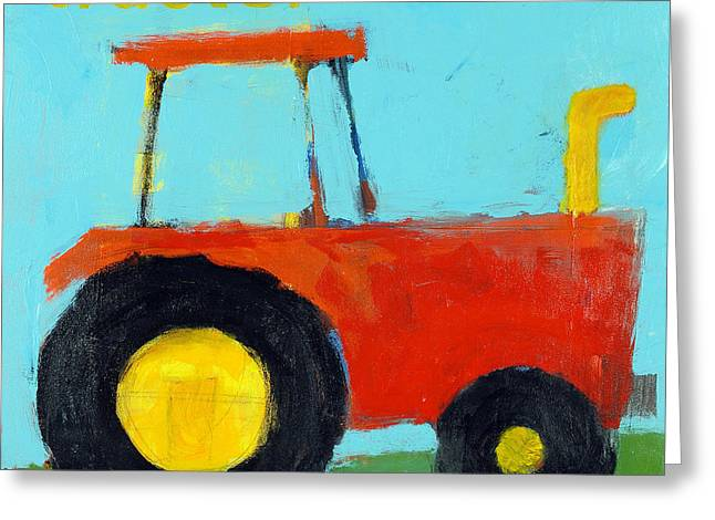 Red Tractor Greeting Card by Laurie Breen