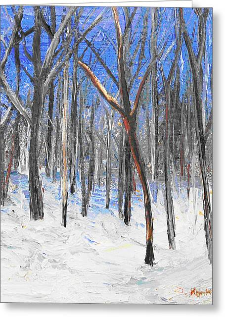 Snowed Trees Jewelry Greeting Cards - Red Tree Greeting Card by Lisa Konkol