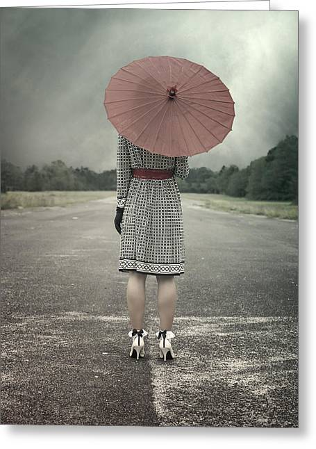 From Behind Greeting Cards - Red Umbrella Greeting Card by Joana Kruse