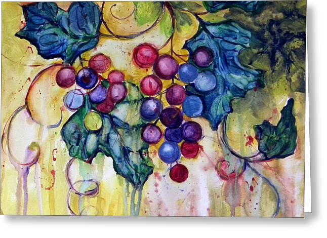Grape Vines Paintings Greeting Cards - Red Water Color Grapes Greeting Card by Peggy Wilson