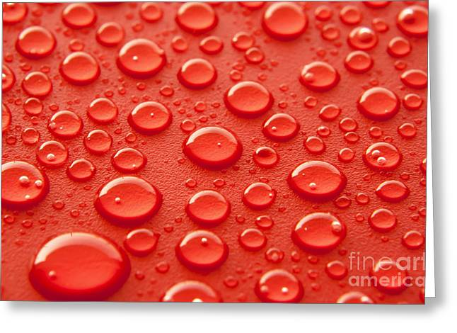 Water Photographs Greeting Cards - Red water drops Greeting Card by Blink Images