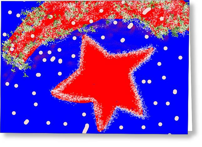 4th July Digital Greeting Cards - Red White and Blue Greeting Card by Dotti Hannum