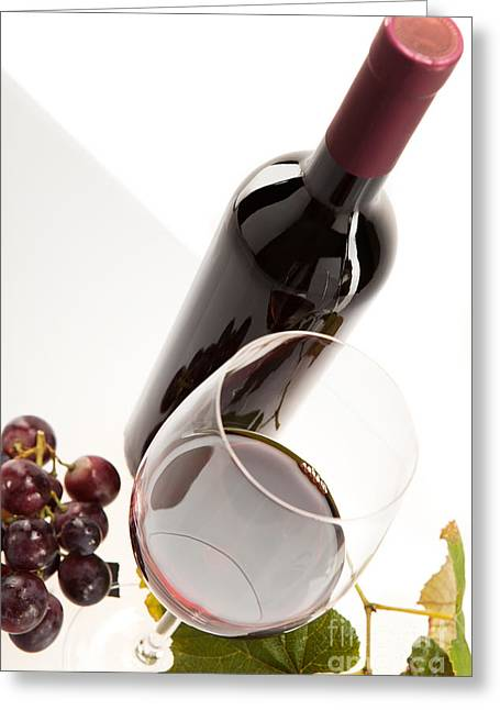 Party Greeting Cards - Red wine in glass with fruit Greeting Card by Wolfgang Steiner