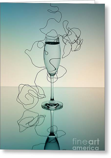 Sparkling Wine Greeting Cards - Reflection Greeting Card by Nailia Schwarz