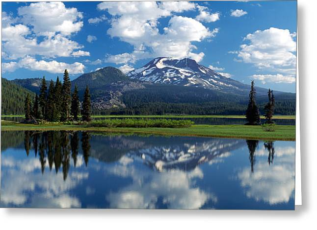 Reflection Of A Mountain In Water Greeting Card by Panoramic Images
