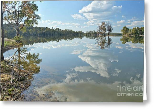 Portugal Greeting Cards - Reflections by the Lake Greeting Card by Angelo DeVal
