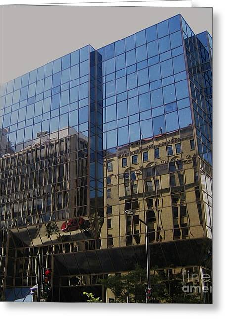 Montreal Streets Greeting Cards - Reflections of Montreal Greeting Card by Reb Frost