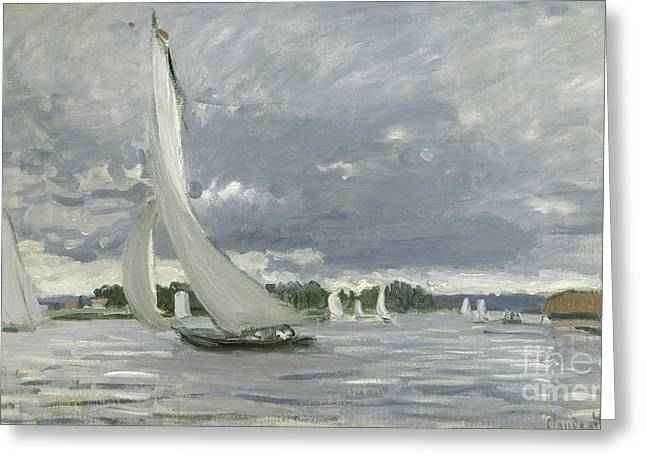 Docked Sailboats Paintings Greeting Cards - Regatta at Argenteuil Greeting Card by Claude Monet