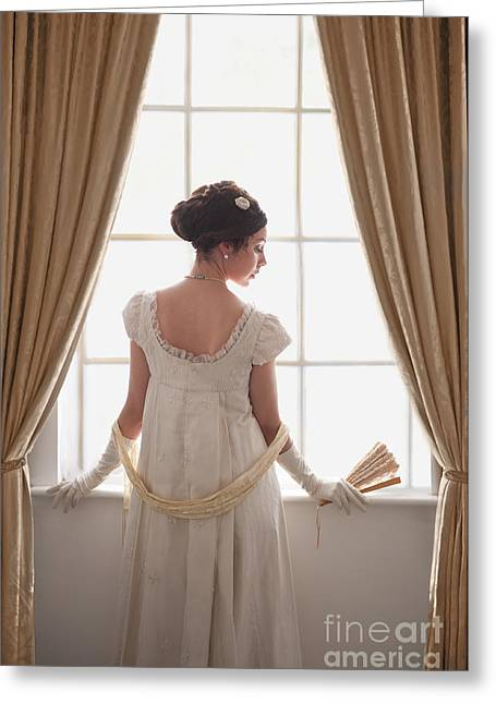 Puffed Sleeves Greeting Cards - Regency Woman At The Window Greeting Card by Lee Avison