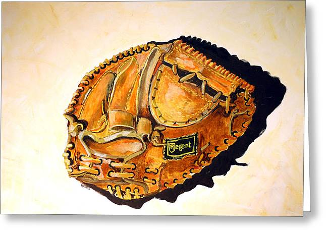 Softball Mitt Greeting Cards - Regent Japan Greeting Card by Jame Hayes