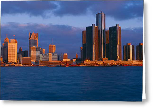 Landforms Greeting Cards - Renaissance Center, Detroit, Sunrise Greeting Card by Panoramic Images