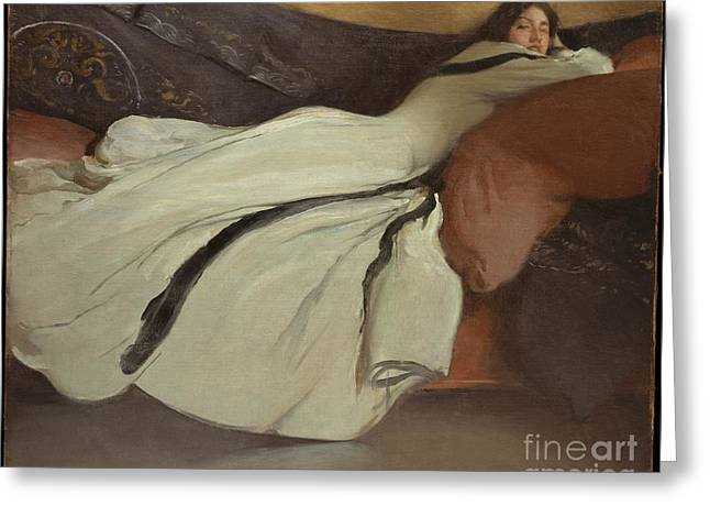 Wife Greeting Cards - Repose Greeting Card by John White Alexander