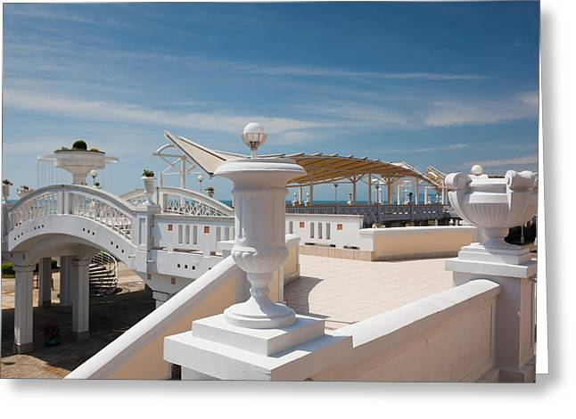 Sochi Russia Greeting Cards - Resort At Riviera Beach, Sochi, Black Greeting Card by Panoramic Images