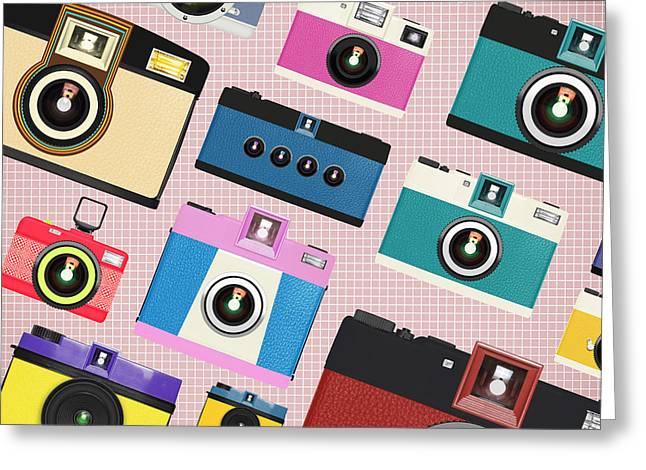 Toy Camera Greeting Cards - Retro Camera Pattern Greeting Card by Setsiri Silapasuwanchai