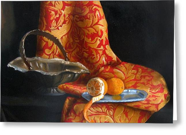 Tangerines Greeting Cards - Retro Citrus Greeting Card by Kristina Savchenko