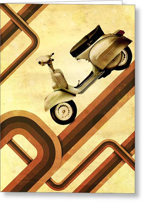 Retro Vespa Scooter Greeting Card by Michael Tompsett