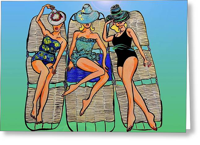 Beach White Posters Greeting Cards - Retro Greeting Card by W Gilroy