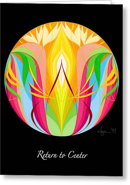 Survivor Paintings Greeting Cards - Return to Center Greeting Card by Angela Treat Lyon