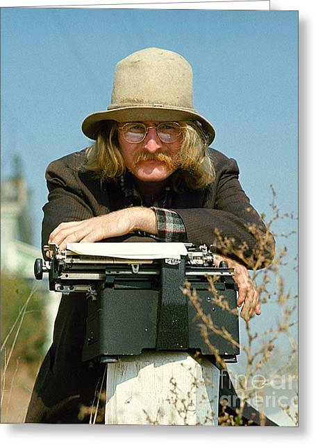 Typewriter Greeting Cards - Richard Brautigan Greeting Card by Baron Wolman