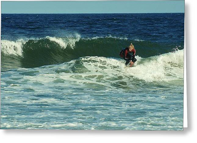 Surfing Photos Greeting Cards - Riding Easy - Jersey Shore Greeting Card by Angie Tirado