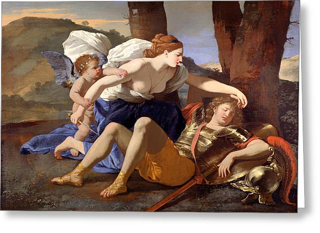 Fabled Greeting Cards - Rinaldo and Armida Greeting Card by Nicolas Poussin