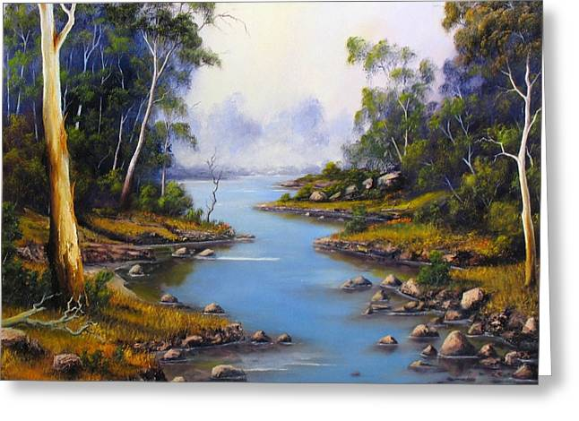 River Reliefs Greeting Cards - River Gumtrees Greeting Card by John Cocoris