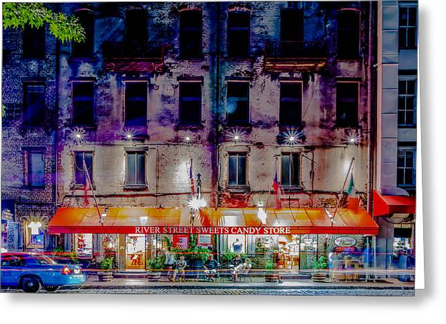 Historic Ship Greeting Cards - River Street Sweet Candy Store Savannah Georgia   Greeting Card by Alexandr Grichenko