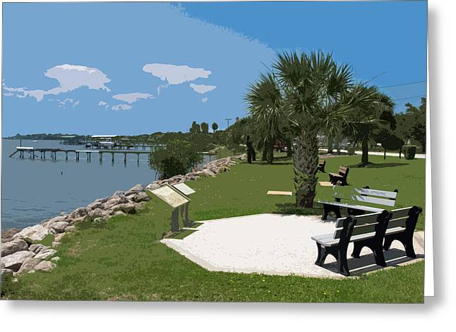 Fishing Boats Greeting Cards - Riverfront on the Eastern shore of the Indian River Lagoon in Fl Greeting Card by Allan  Hughes