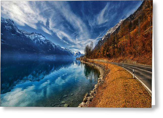 Mist Greeting Cards - Road To No Regret Greeting Card by Philippe Sainte-Laudy
