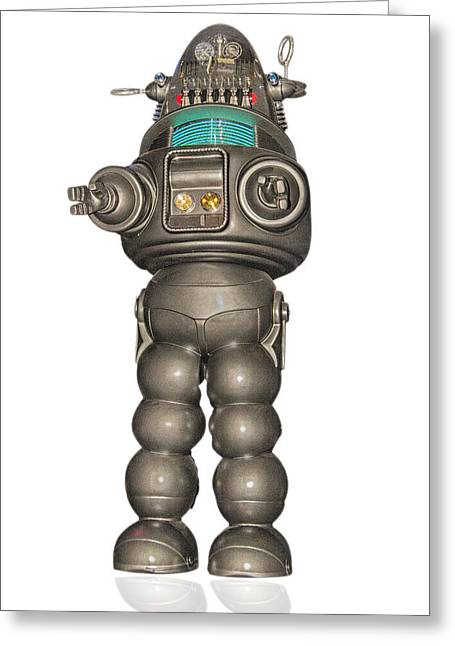 Robby The Robot Greeting Cards - Robby the robot Greeting Card by Gary Warnimont
