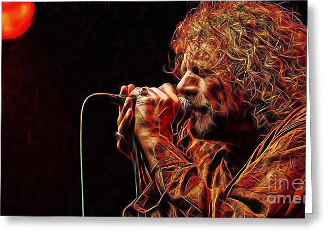 Robert Plant Led Zeppelin Greeting Card by Marvin Blaine