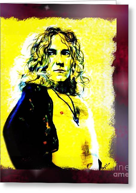 Rocks Drawings Greeting Cards - Robert Plant of Led Zeppelin   Greeting Card by Jim Fitzpatrick