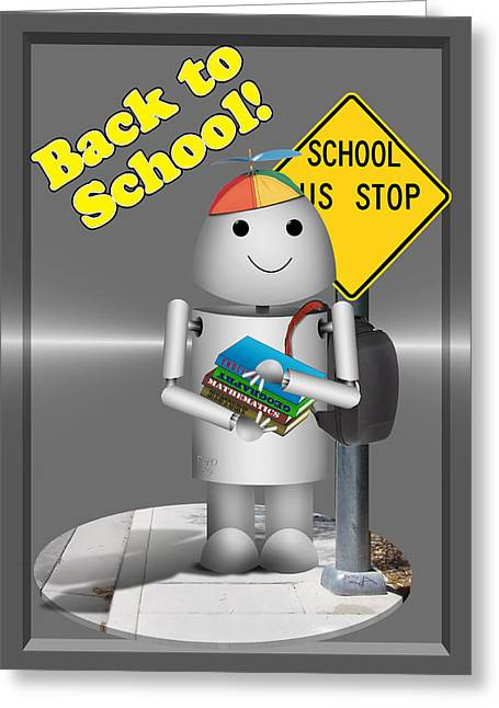 Bus Stop Greeting Cards - Robo-x9  Back to School Greeting Card by Gravityx9 Designs
