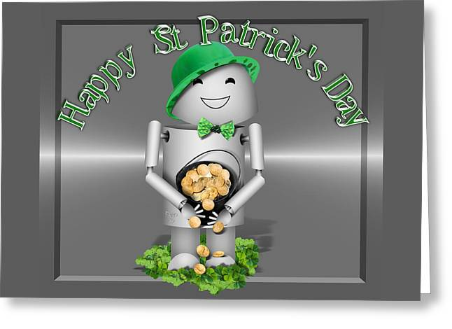 Robo-x9 With A Pot Of Gold Greeting Card by Gravityx9 Designs