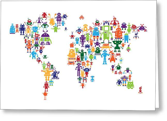 Kid Greeting Cards - Robot Map of the World Map Greeting Card by Michael Tompsett