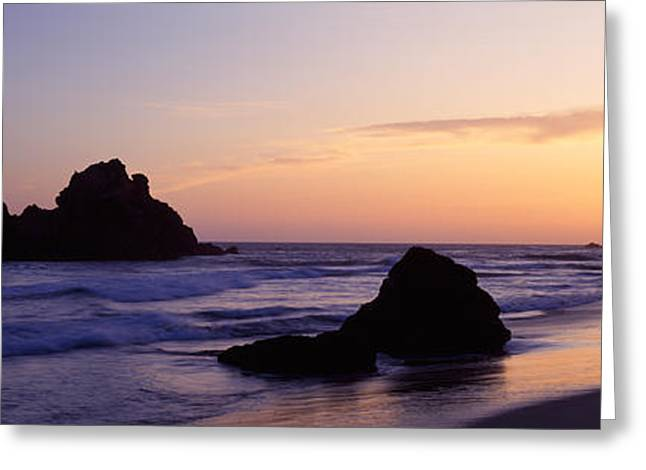 Big Sur Beach Greeting Cards - Rock Formations On The Beach, Pfeiffer Greeting Card by Panoramic Images