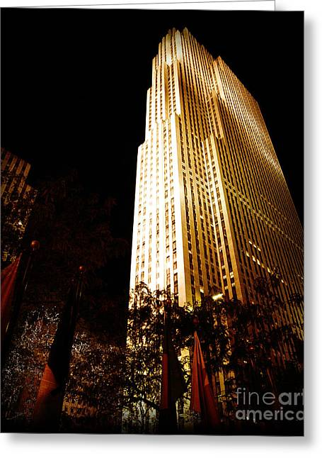 Antique City Greeting Cards - Rockefeller Center in New York City lit up at Night in Manhattan Greeting Card by ELITE IMAGE photography By Chad McDermott