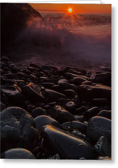 Sunrise Waves Greeting Card by William Sanger