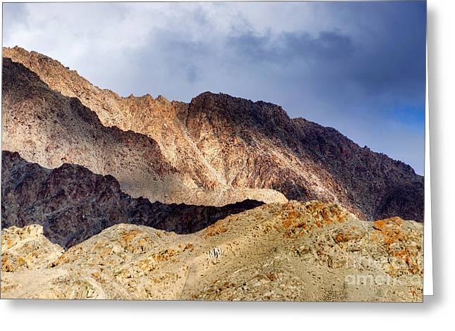 Rocks And Stones Moonland Mountains Ladakh Landscape Leh Jammu Kashmir India Greeting Card by Rudra Narayan  Mitra