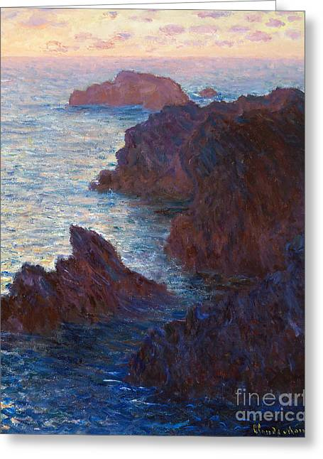 Vintage Painter Greeting Cards - Rocks at Belle-lle Port-Domois Greeting Card by Claude Monet