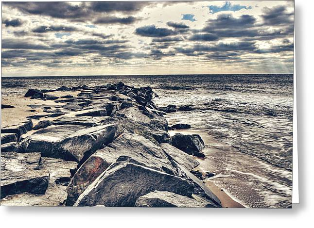 Lake House Greeting Cards - Rocks at Cape May Greeting Card by Emily Kay