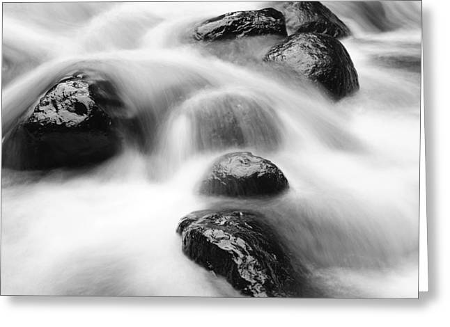 Flowing Stream Greeting Cards - Rocks in stream Greeting Card by Les Cunliffe