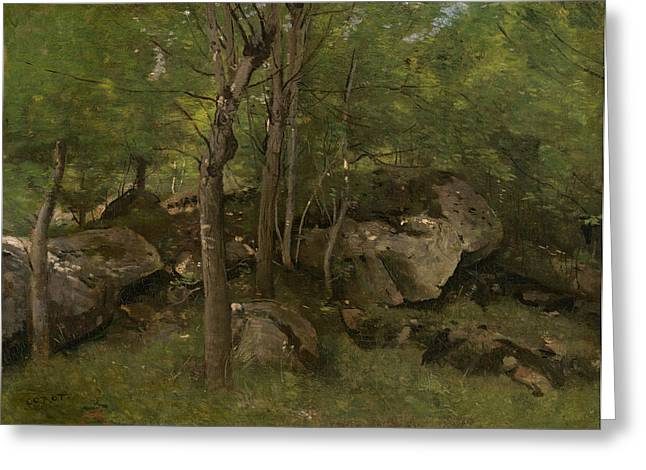 Rocks In The Forest Of Fontainebleau  Greeting Card by Jean-Baptiste-Camille Corot