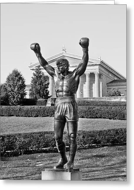 Philadelphia Art Museum Greeting Cards - Rocky Statue - Philadelphia Greeting Card by Brendan Reals
